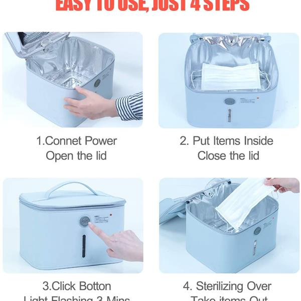 59S UV Light Sanitizer Bag, UVC Cleaner Disinfection Lamp Compact for Mobile Phone, Clothes, Kills 99.9% of Germs Viruses & Bacteria (P55Y)