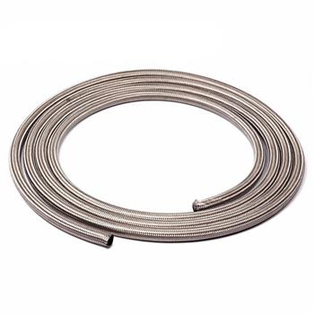 4AN 15ft Universal Stainless Steel Nylon Braided Fuel Hose Silver