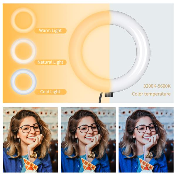 Kshioe 6-inch Ring Light   Mountain Clip, One-Word Clip   2m Light Stand   Bluetooth Set(DO NOT SELL ON AMAZON)