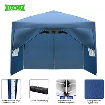 3 x 3m Two Doors & Two Windows Practical Waterproof Right-Angle Folding Tent Blue