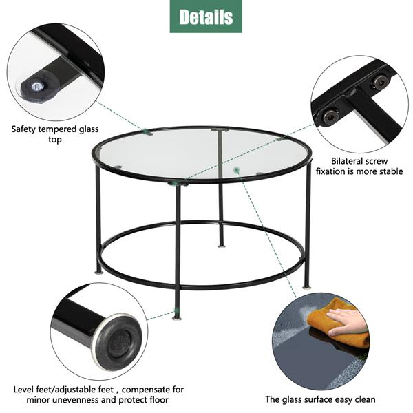 """HODELY 36"""" 2 Layers 5mm Thick Tempered Glass Countertop Round Iron Art Coffee Table Black"""