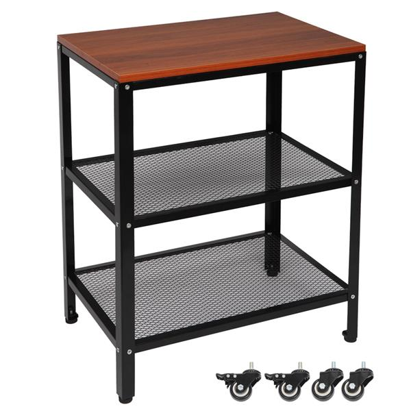 3-Tier Kitchen Microwave Cart, Rolling Kitchen Utility Cart, Standing Bakers Rack Storage Cart with Metal Frame for Living Room Brown