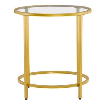 [50 x 50 x 55]cm Simple Single Layer Round Frame Glass Surface Coffee Table Side Table 50 Round Gold