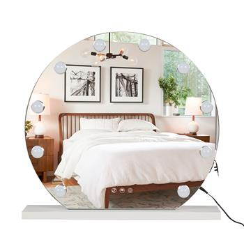 FCH Round Hollywood Desktop Mirror, Makeup Mirror with Frame, 12 Bulbs-White Square Base