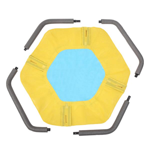 40 Inch Hexagon Swing, Textilene Swing with  2 Carabiners & Adjustable Rope(Yellow & Blue)