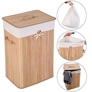 Single Lattice Bamboo Folding Basket Body with Cover Wood Color