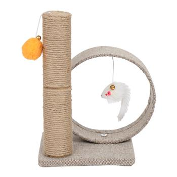 """HOBBYZOO 13"""" Cat Tree Tower with Linen Circular Ring, Toys, Beige brown"""