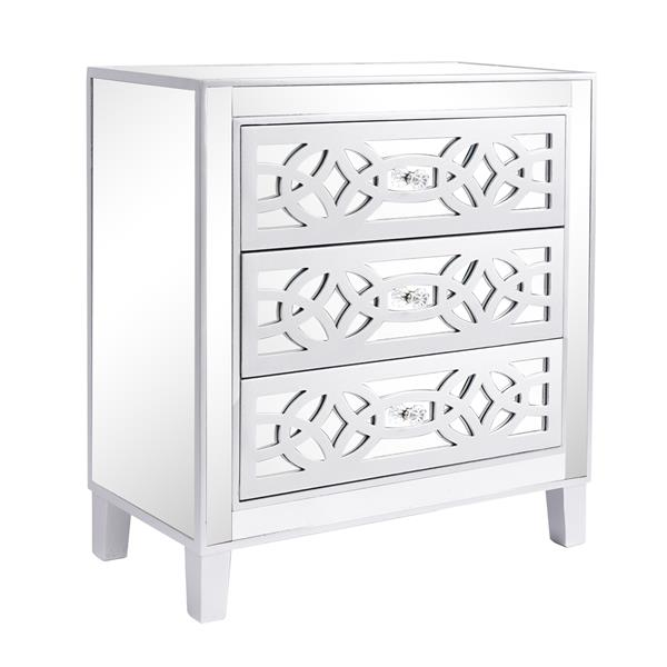 3 drawer mirrored cabinet - Silver
