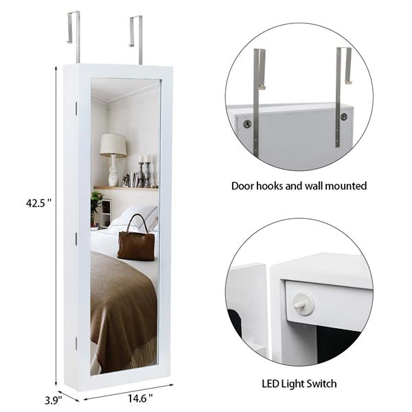 Non Full Mirror Wooden Wall Mounted 4-Layer Shelf, 2 Drawers, 8 Blue Led Lights, Jewelry Storage Mirror Cabinet - White
