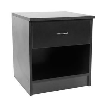 One-Drawer Arc-Shaped Handle Night Stand Black
