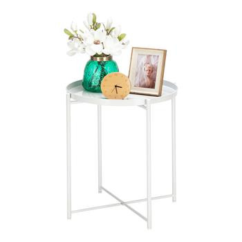 Artisasset Round Metal Countertop And Cross Base Wrought Iron Living Room Side Table Pearl White