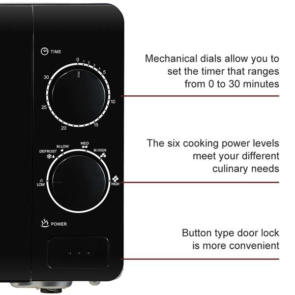 ZOKOP 20MX60-L/Black 20L/0.7cuft Conventional Microwave Oven Mechanical Knob/Button Door Switch
