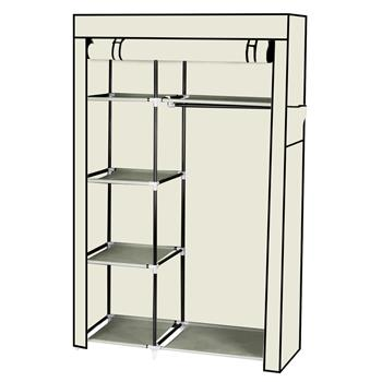 "64"" Portable Closet Storage Organizer Wardrobe Clothes Rack with Shelves Beige"