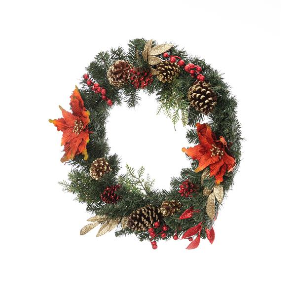 Artisasset A Christmas Wreath Decorated With Red Flowers And Pine Nuts