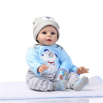 "22"" Mini Cute Simulation Baby Toy in Puppy Pattern Clothes Blue"