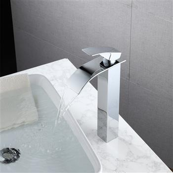 Single Hole Single Handle Hot And Cold Single Control Bathroom Basin Waterfall Faucet-Chromed Curved Mouth (High)