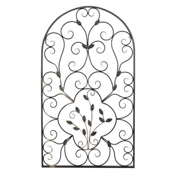 "41"" Semi-Circular Retro Decorative Spanish Arch Wall Art Leaf Shape Iron Ornament"