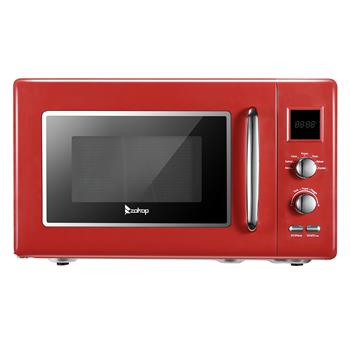 ZOKOP B25UXP45-A90 / Red 23L / 0.9cuft Retro Microwave With Display / Silver Handle