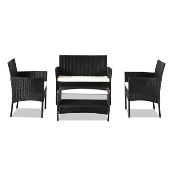 OSHION Outdoor Leisure Rattan Furniture Four-piece Set Double Coffee Table - Black