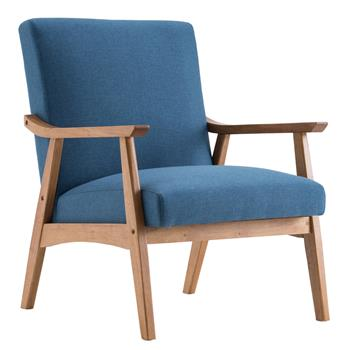 (67x72.5x82cm) Solid Wood Retro Simple Single Sofa Chair Backrest without Buckle Navy Blue