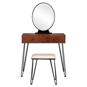 Bedroom Iron Dressing Table Simple Dressing Table Black Iron Foot Brown Desktop With Light Three-Color Adjustable