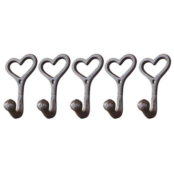"Love Style Cast Iron Wall Coat Hooks Hat Hook Hall Tree 4 1/2"" Brown GG007"