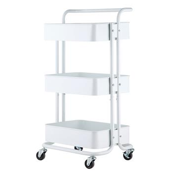 3-Tier Home Kitchen Storage Utility cart with handle-White