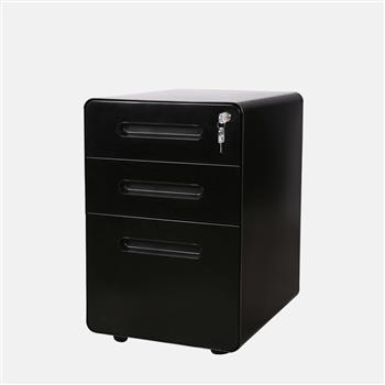 39cm Wide Rounded Corner Cabinet with Plastic Handle Black