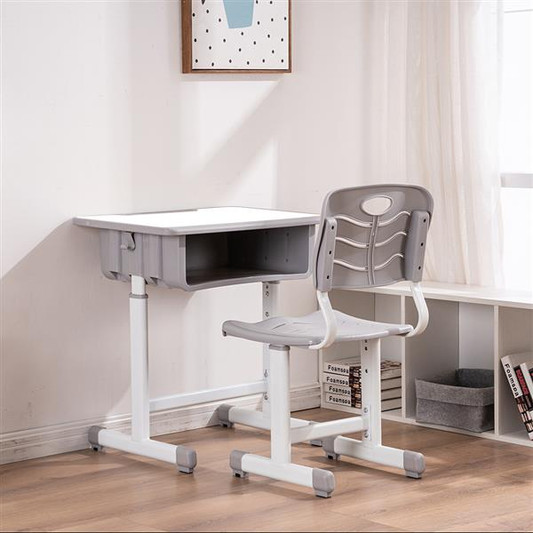 Adjustable Students Children Desk and Chairs Set White
