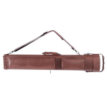 62638-469 1/2 8-Hole Plastic Leather Professional Pool Cue Case 34 inch Brown