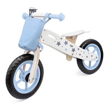 Wooden Toys: Wooden Balance Bike Star Model With Bag/Bell Blue