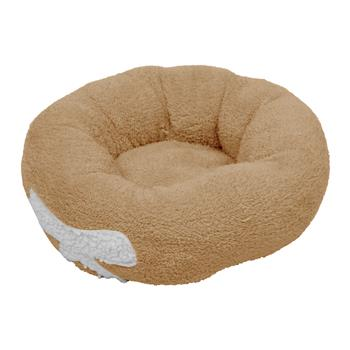 Pet Dog Cat Calming Bed Warm Soft Plush Round Brown for Cats & Small Dogs