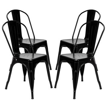4pcs Industrial Style Iron Sheet Chair Black