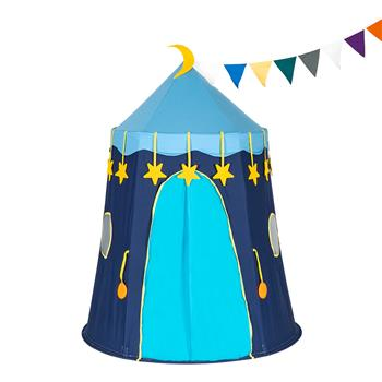 Cotton Yurt Tent With Small Colorful Flags Blue