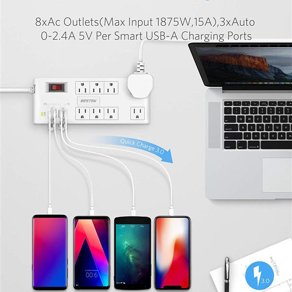 Ban on Amazon platform salesBESTEK Quick Charge 3.0 Power Strip Surge Protector USB,Plug 8-Outlet 4 USB Ports, 6-Foot Flat Angle Plug Heavy Duty Extension Cords (White)