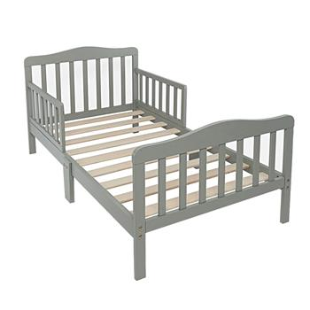 Wooden Baby Toddler Bed Children Bedroom Furniture with Safety Guardrails Gray