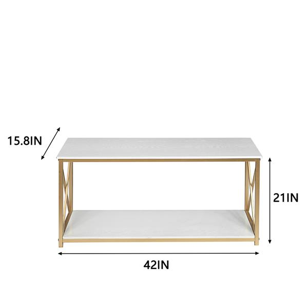2-Tier Console Table, Gold Sofa Entry Table with Faux Marble Top and Gold Metal Frame for Home