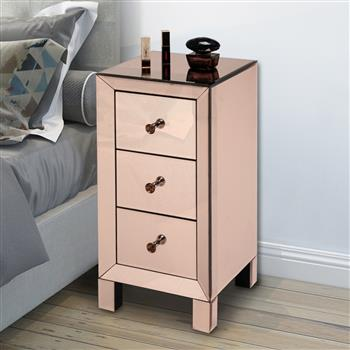 Modern and Contemporary Mirrored 3-Drawers Nightstand Bedside Table Rose