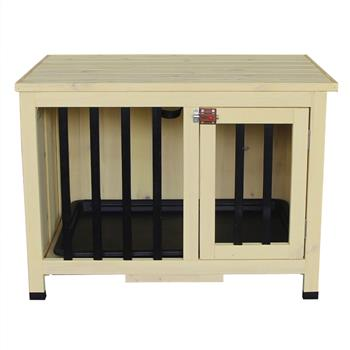Opening Roof Foldable Pet Shelter Dog House Pet Bed Wood Shelter Kennel Home Beige for Small Dogs Outdoor or Indoor