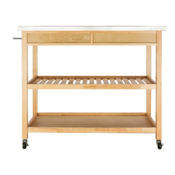 FCH Moveable Kitchen Cart with Stainless Steel Table Top & Two Drawers & Two Shelves Burlywood