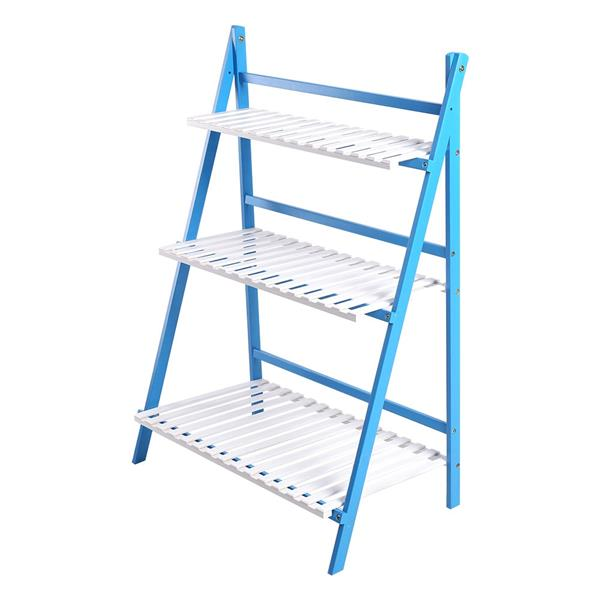 Multi Layer Foldable Plant Pots Rack Stand Shelf for Balcony Room Garden Patio(Blue+White)