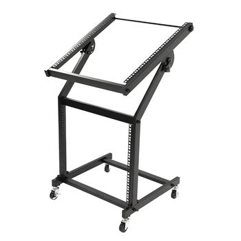 19U Mixer Studio Rack Stand on Wheels Black