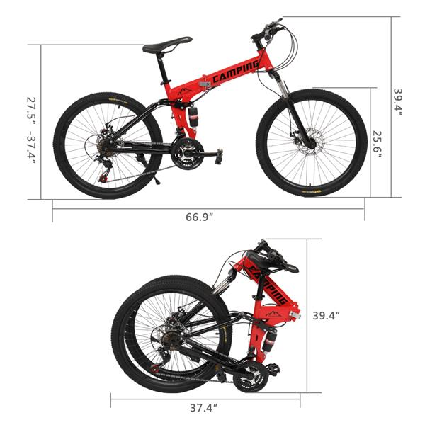 [Camping Survivals] 26-Inch 21-Speed Folding Mountain Bike Red