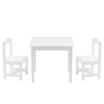[60 x 60 x 52]cm MDF Simple Children's Table and Chair Set of 3 1 Table 2 Chairs White