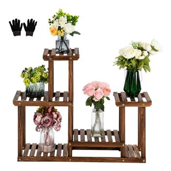 Artisasset 4-Story 7-Seat Indoor And Outdoor Multi-Function Carbonized Wood Plant Stand