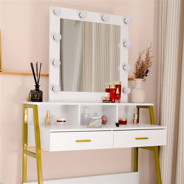 FCH Single Mirror With 2 Drawers, With Shelf With Light Bulb, Steel Frame Dressing Table White