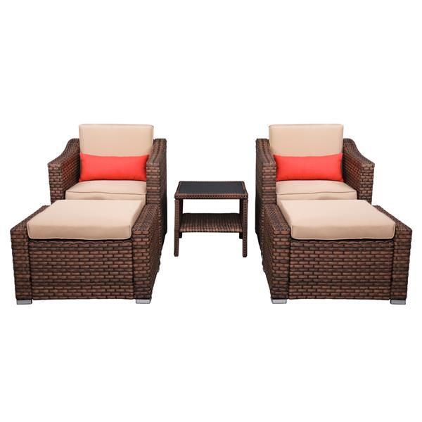 Wide Rattan   Double Contiguous Rattan Five-Piece Suit 2 Single 2 Pedals 1 Double Coffee Table Box 2 (Total Two   Boxes) Brown