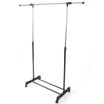 Single-bar Vertical & Horizontal Stretching Stand Clothes Rack with Shoe Shelf YJ-02 Black & Silver