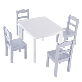 【66L x 56W x 48H】Children's Table and Chair Set White & Gray (1 Table and 4 Chairs)