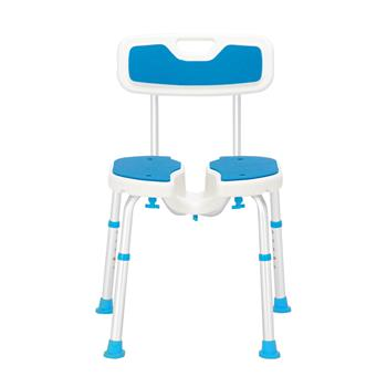 Aluminum Alloy Lifting Hollow Bath Chair 6-Speed / PE Stool / Rubber Foot Cushion / With Backrest Blue And White